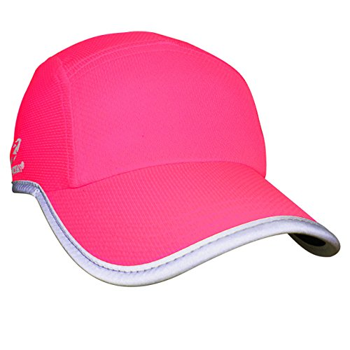 Headsweats Performance Race/Running/Outdoor Sports Hat, High Visibility Neon Pink Reflective