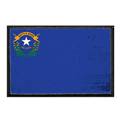 Nevada State Flag - Color - Distressed Morale Patch | Hook and Loop Attach for Hats, Jeans, Vest, Coat | 2x3 in | by Pull Patch (Distressed Patch)