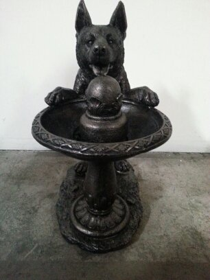 Outdoor Indoor Garden Patio Medium German Shepherd Bronze Colored Statue  Sculpture Fountain 17u0026quot;H