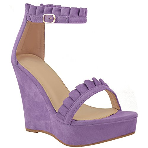 Fashion Thirsty Womens Wedge High Heels Frill Ankle Strap Platforms Sandals Summer Size Lilac Faux Suede D1LtrCJhI