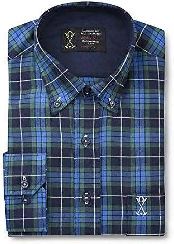Camisa Manga Larga, con Cuadros Escoceses de Color Verde y Azul Marino - 7_3XL, Azul Marino: Amazon.es: Ropa y accesorios