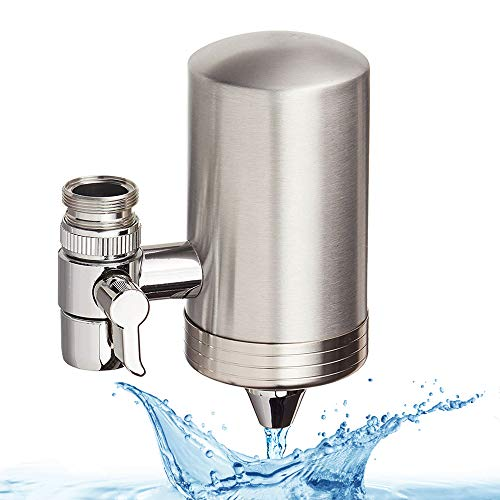 AMOYEE Faucet Mount Filter, Food Grade 304 Stainless Steel, Water Purifier with Ultrafiltration Membrane Filter Element, with Double Outlet to Reduce Chlorine,Lead,BPA Free and Improve Hard Water