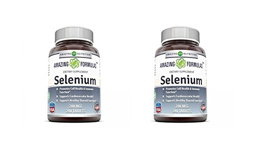 Yeast Selenium (Amazing Nutrition Selenium * 200mcg Natural Selenium Yeast * 240 Tablets Per Bottle * Promotes Cell Health, Immune Function, Cardiovascular Health and Healthy Thyroid Function and more.. (Pack of 2))