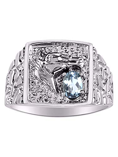Rylos Lucky Horse Head Nugget Ring with Aquamarine and Diamonds in Sterling Silver .925
