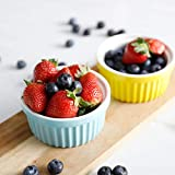 Sweese 502.003 Porcelain Souffle Dishes, Ramekins - 4 Ounce for Souffle, Creme Brulee and Dipping Sauces - Set of 6, Cool Assorted Colors