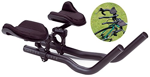 Triathlon Handlebar - FIVE FLOWER Alloy Triathlon Aerodynamic Position Bike Handlebars for Road Mountain Bike Cycling Race Bicycle MTB Color Black
