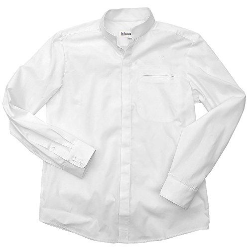 """Chemise col mao """"officier"""" en popeline de coton blanc"""