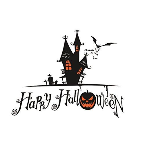 Tinksky Happy Halloween Spooky Cemetery Castle Pumpkin Bats Wall Decals Window Stickers Halloween Decorations halloween horror nights -