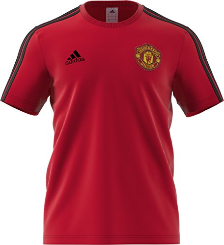 World Cup Soccer Manchester United Men's Soccer 3 Stripes Tee, Real Red, Medium