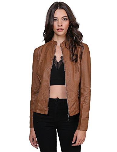 Basic Moto Rider Faux Leather Zippered Jacket Camel Size M