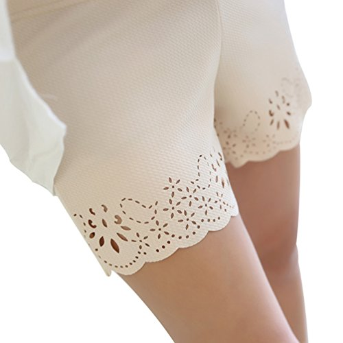 Sottili Pizzo Leggins Corti Estiva Traspirante Bianco Beige Mutande Morbido Yiiquan Confezione Ultra Donna Elasticizzati 4qY0tnXAn