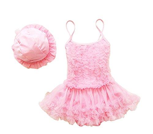 Taiycyxgan Girls Princess Lace Layer Swimsuit TuTu Dress One-Pieces Swimwear Tankini,Pink,Large / 4-5 Years -