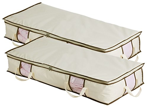 MISSLO Jumbo Under The Bed Organizer for Comforters, Blanket Storage, Set of 2