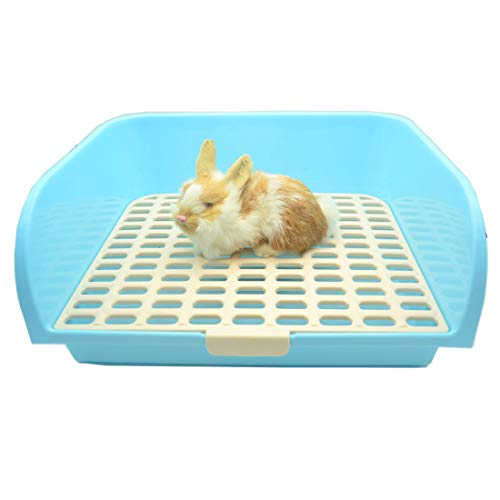 RUBYHOME  Small Animal Litter Pet Toilet, Oversize Potty Trainer Corner Litter Bedding Box Pet Pan for Rabbit Guinea Pig Galesaur Ferrets Plastic Material, 17.7 inch Long (Blue)