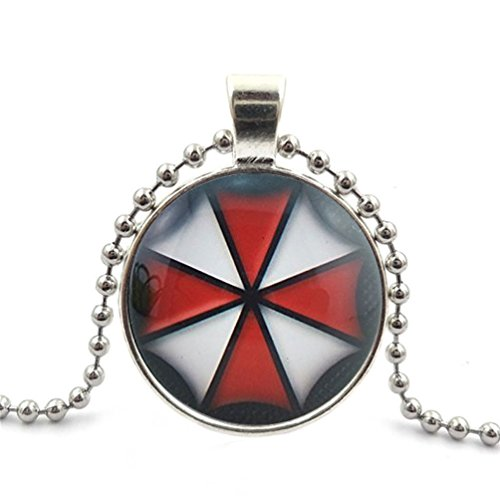 Segard Glass Cabochon Pendant Necklace Chain Resident Evil Umbrella Corporation Glass Round Dome Silver Steampunk Jewelry Gifts for Women Men Girls Boys Father Mother