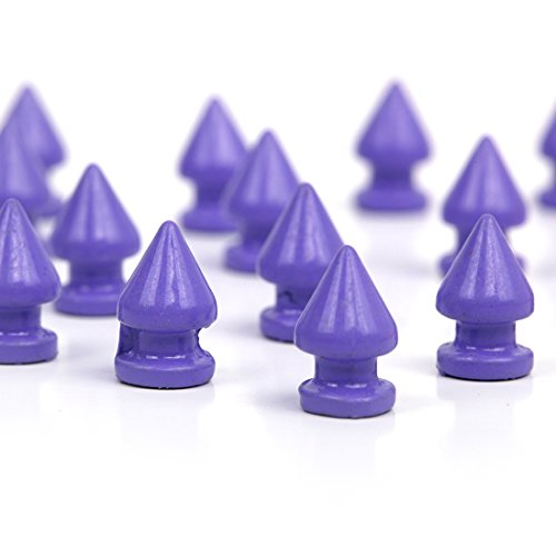 RUBYCA 12MM 50 Sets Metal Tree Spikes and Studs Metallic Screw-Back for DIY Punk Leather-craft Purple