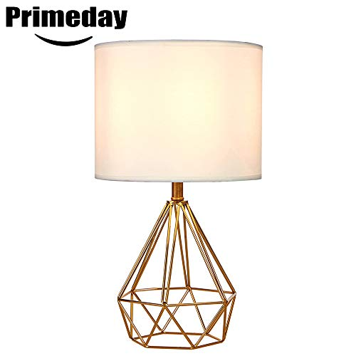 SOTTAE Modern Style Golden Hollowed Out Base Living Room Bedroom Beside Table Lamp, Desk Lamp with White Fabric Shade ()