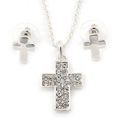 Avalaya Clear Austrian Crystal Cross Pendant with Silver Tone Chain and Stud Earrings Set - 46cm L/ 5cm Ext - Gift Boxed ()