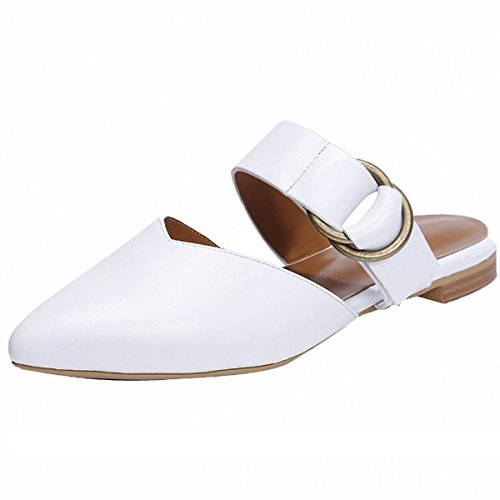 Mavirs Women's Shoes White Pointed Toe Backless Slip Fashion Slide Dress Flat On Mule 2 Sandals rrUdwf