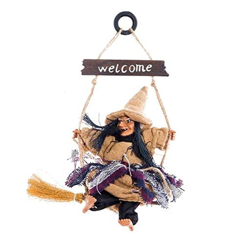 Halloween Hanging Witch Horror Party Hanging Flying Witch Ornaments Pendant Festival Bar Decoration - Yellow by Matchia