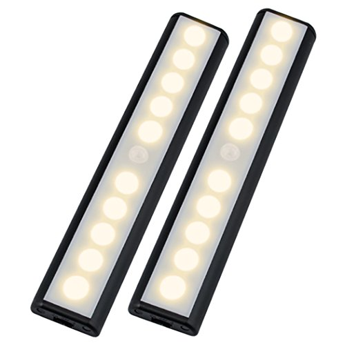 Wireless Motion Sensor Cabinet Light Wardrobe Closet Lights,USB Rechargeable 10 LED Cabinet Lighting,Magnetic Removable Stick-On Anywhere for Wardrobe/Stairs/Closet/Drawer,Warm White,2 Pack (Wardrobe Closet With Drawers)