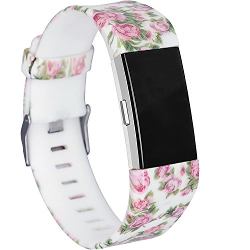 (RedTaro Bands Compatible for Fitbit Charge 2, Replacement Accessory Wristbands (218 Pink Floral, Large (6.5-9.0)-Inches))