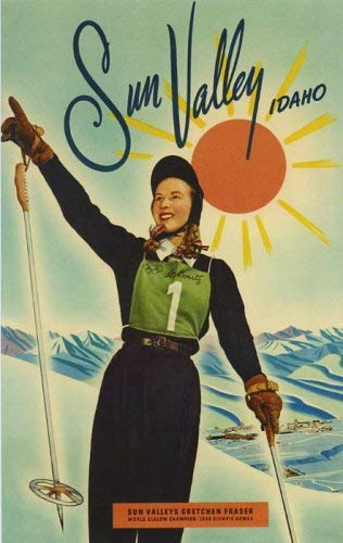 - SUN VALLEY IDAHO ALPINE SKI RACER GRETCHEN GOLD MEDAL 1948 OLYMPIC GAMES SKIING LARGE VINTAGE POSTER REPRO