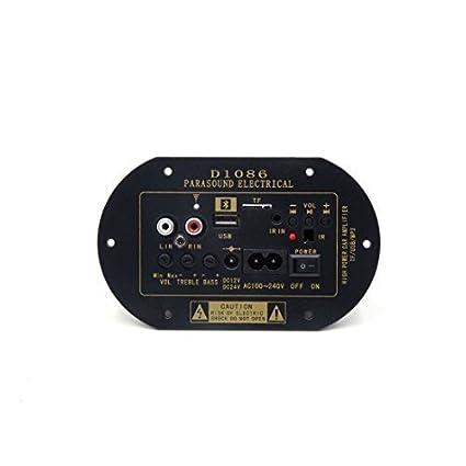 eDealMax coche DC12V / 24V 30W AC100-240V MP3 USB TF Amplificador de Potencia de