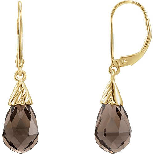 14k Yellow Gold Smoky Quartz Earrings