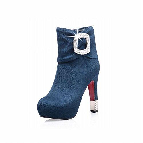 Carolbar Femmes Fermeture À Glissière Strass Chic Élégance Sexy Mode Haut Talon Robe Bottes Bleu Profond