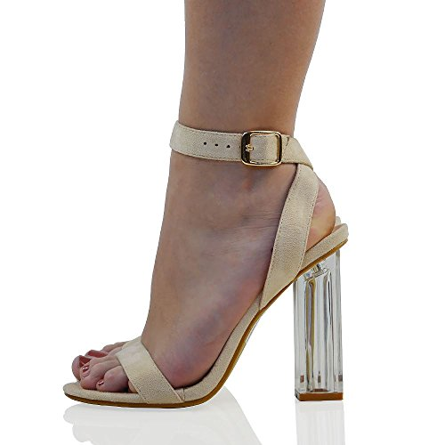 Essex Glam Donna Cinturino Alla Caviglia Con Tacco Chiaro In Finta Pelle Scamosciata Sandali Party In Ecopellicciata Scamosciata