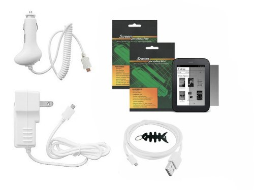 iShoppingdeals - 5 Item Bundle Combo for Barnes & Noble NOOK Simple Touch Reader (NEWEST model, WIFI Only): Car Travel AC Charger, USB Sync Cable, Screen Protector, and Smart Headphone Wrap