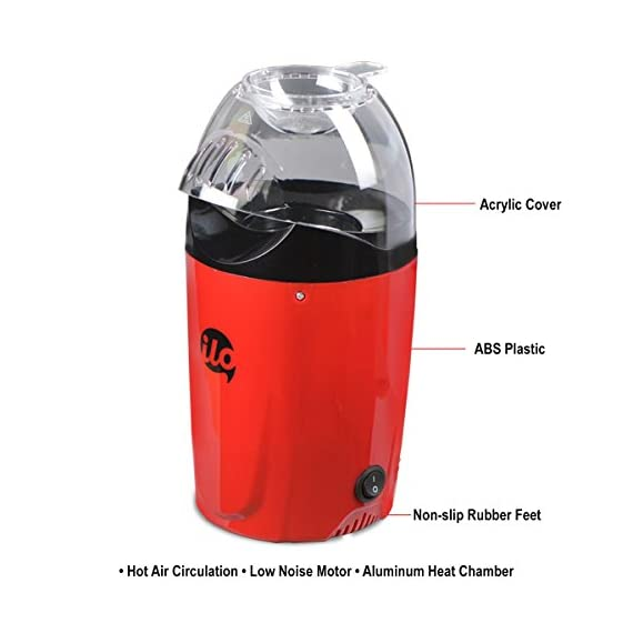 BMS Lifestyle 1200W Hot Air Snacks Maker, Use For Making Multip Oil Free Snacks,  with Measuring Cup and Removable Top Cover (Red) 3