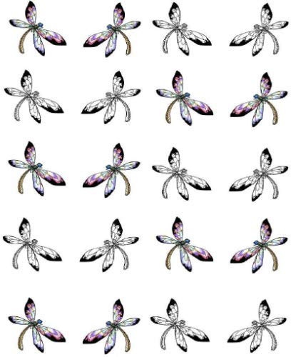 Silhouette Dragonfly Waterslide Nail Art Decals
