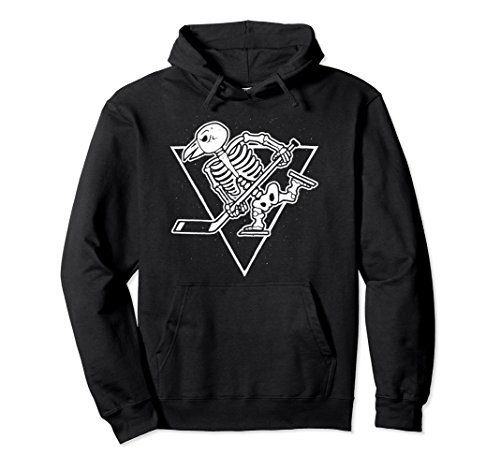 Unisex Hockey Penguin Skeleton Pullover Hoodie For Men Women Kids Large Black Penguin Kids Hoodie