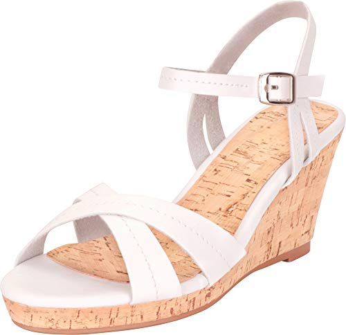 Cambridge Select Women's Retro 70s Crisscross Strappy Chunky Platform Wedge Sandal,5.5 B(M) US,White -