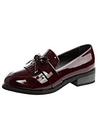 Fumx Women's Genuine Patent Leather Round Toe Slip-On Loafer