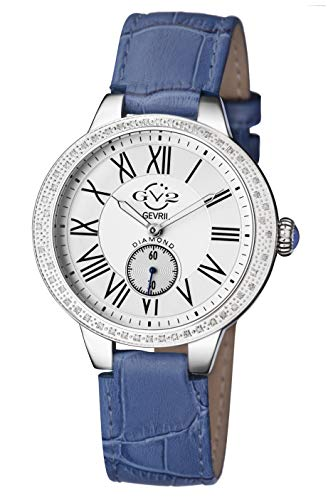GV2 by Gevril Astor Womens Diamond Swiss Quartz Blue Leather Strap Watch, (Model: 9103)