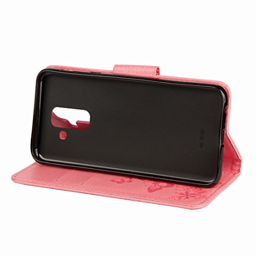 Cover Silicone red Per Pu Rosa Rose Cover Stile Tpu Custodie Samsung Portafoglio Magnetica Carte Porta Yiizy 2018 Galaxy Funzione Pelle A6 Protettivo Stand Morbido Farfalla 8XOxcqB