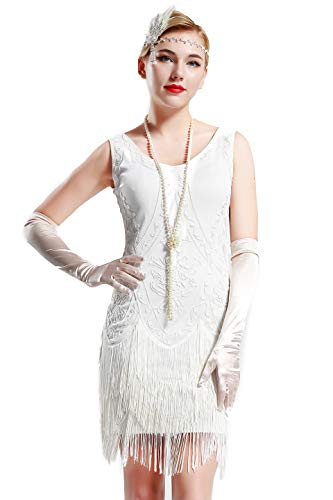 BABEYOND 1920s Flapper Dress Roaring 20s Great Gatsby Costume Dress Fringed Embellished Dress (White, -