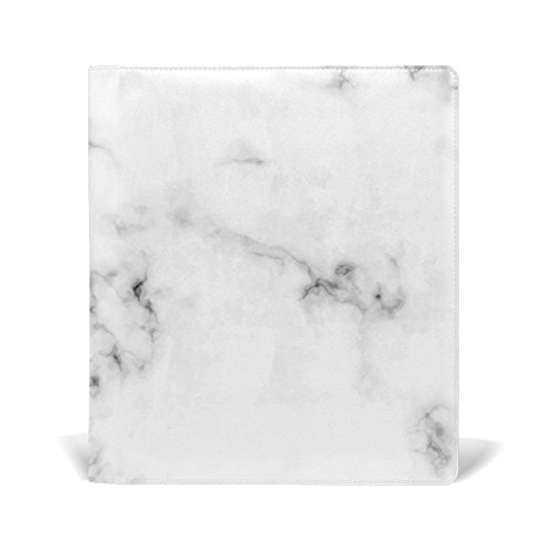 La Random Black And White Marble Custom Leather Book Cover for Notebook School Textbook Books Hard Cover 9 x 11 Inches by ALAZA