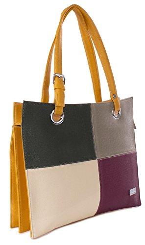 Big Handbag Shop - Bolso de asas de piel sintética para mujer Talla única amarillo