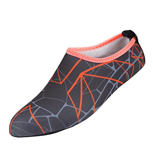 Unisex Water Skin Shoes Quick Dry Aqua Socks Barefoot Shoes for Beach Swin,Diving,Surf Yoga Exercise Gray&Orange