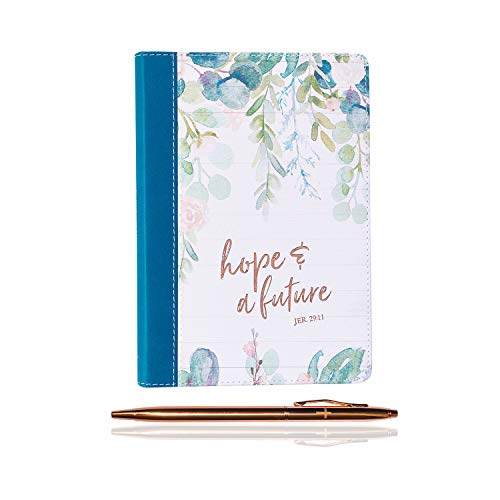 Inspirational Christian Quotes Large Luxury Journal Diary Notebook with a Rose Gold Tone Pen Bundle (Hope and Future Slimline LuxLeather Journal - Jeremiah - Journal Slimline