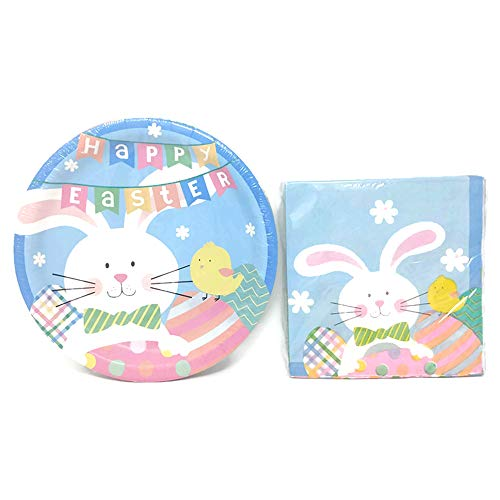 Easter Paper Plates And Napkins Set With Colorful Easter Bunny Theme: 18 Paper Plates, 18 Paper Luncheon -