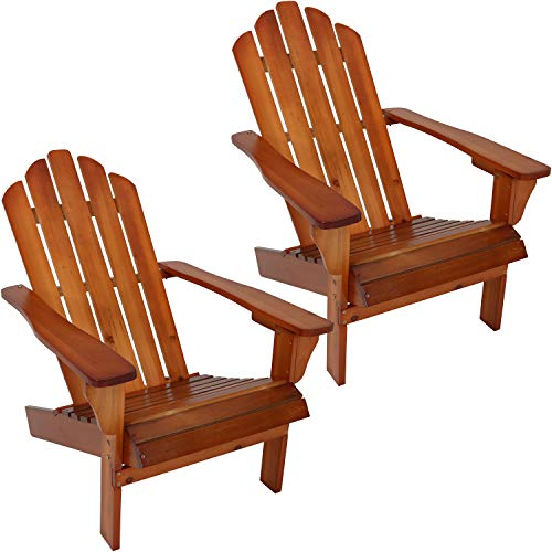Sunnydaze Outdoor Wood Adirondack Chair, Brown, Set of ()