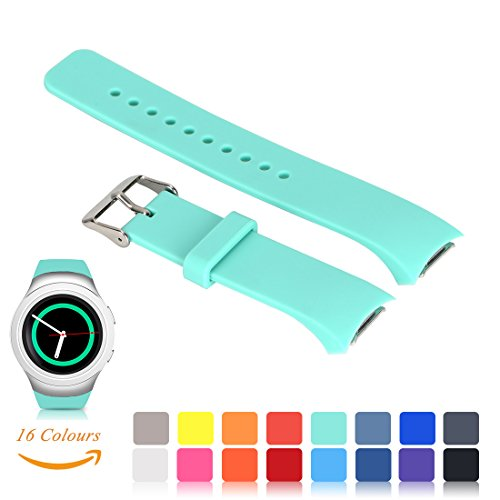 350 Leather (Feskio For Samsung Gear S2 SM-R720/R730 Watch Replacement Band Accessory Small/Large Size Soft Silicone Wristband Strap Smartwatch Sport Band Fit for Samsung Galaxy Gear S2 SM-720/SM-730 Smartwatch)
