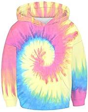 Jongens Meisjes Mode Gekleurde Tie-dye Unisex Hoodies, Morbuy Winter Herfst Kids Casual Lange Mouw Trainingspakken Tops met Pocket Pullover Hoodie Jacket 6-14 Jaar