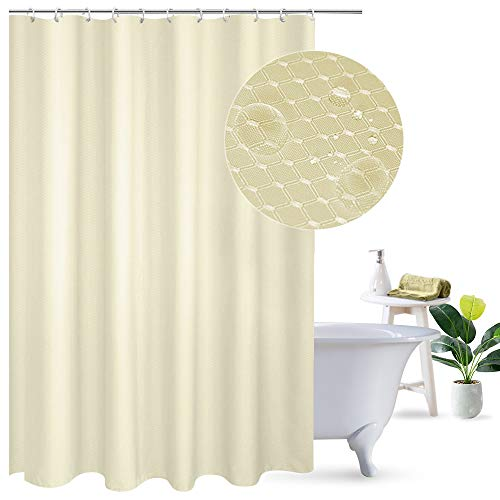 UFRIDAY Waterproof and Mildew-Resistant Fabric Shower Curtain Honeycomb Print with Lead Weight, Elegant Design Waffle Weave Shower Curtain Polyester for Home/Hotel, Beige, 72-inch x 75-inch