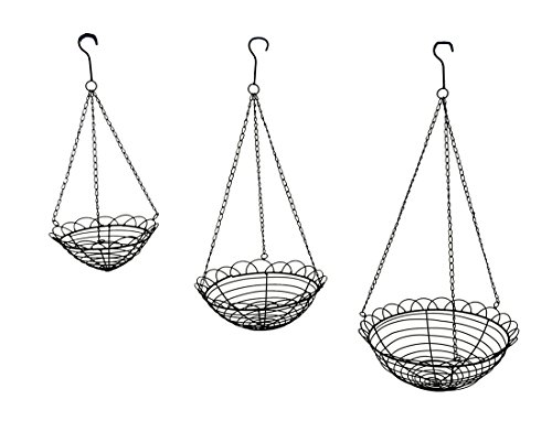 Scallop Basket - Set of 3 Scallop Edge Metal Wire Hanging Baskets